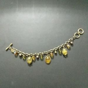 Cookie Lee Antique Gold Tone Yellow Green Charm Bracelet